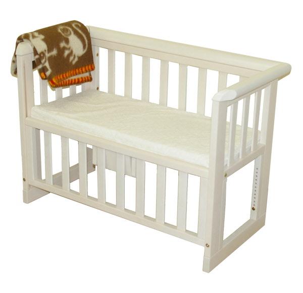 Babybed Aan Bed.Aanschuifbedje Troll White Wash